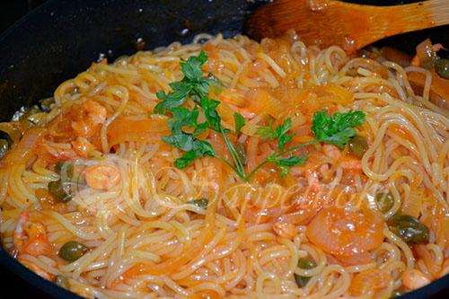 Спагетти с креветками #шаг 10