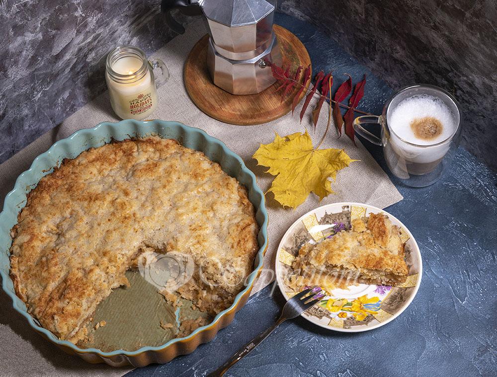 Пирог три стакана с яблоками
