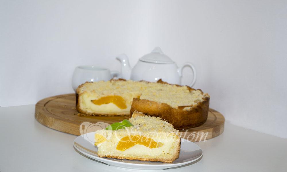 Цветаевский пирог с персиками и яблоками